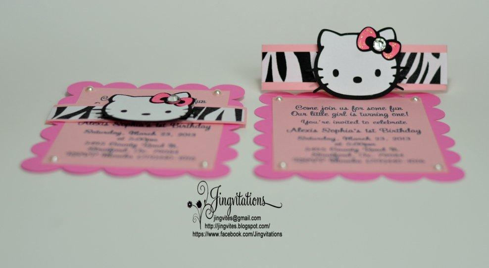 Hello Kitty Zebra Print Invitations