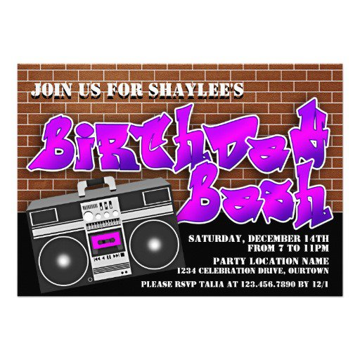 Hip Hop Birthday Party Invitations