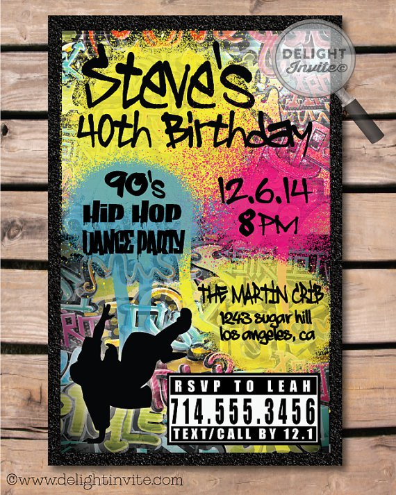 Hip Hop Themed Birthday Party Invitations