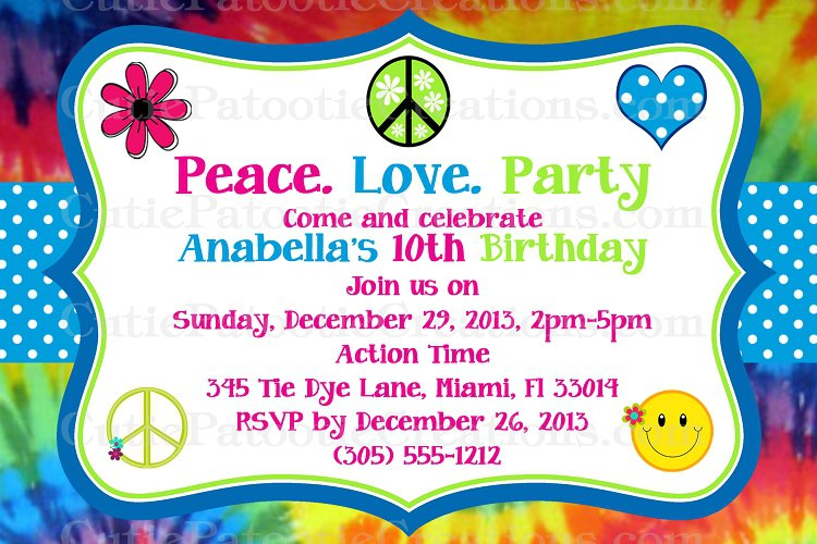 Hippie Party Invitations Free
