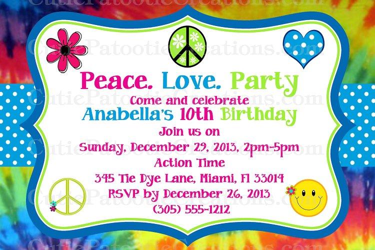 Hippie Party Invitations