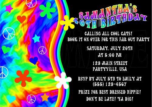 Hippie Party Invitations Wording