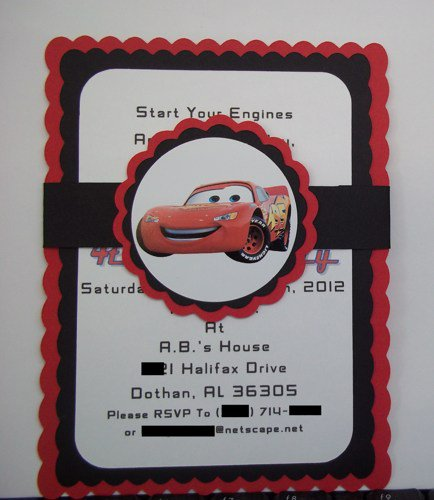 Homemade Disney Cars Birthday Invitations
