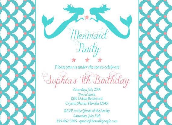 Homemade Little Mermaid Invitations