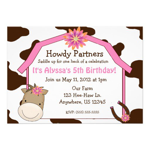 Horse Birthday Invitations For Girls