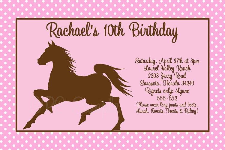 Horse Birthday Invitations Templates