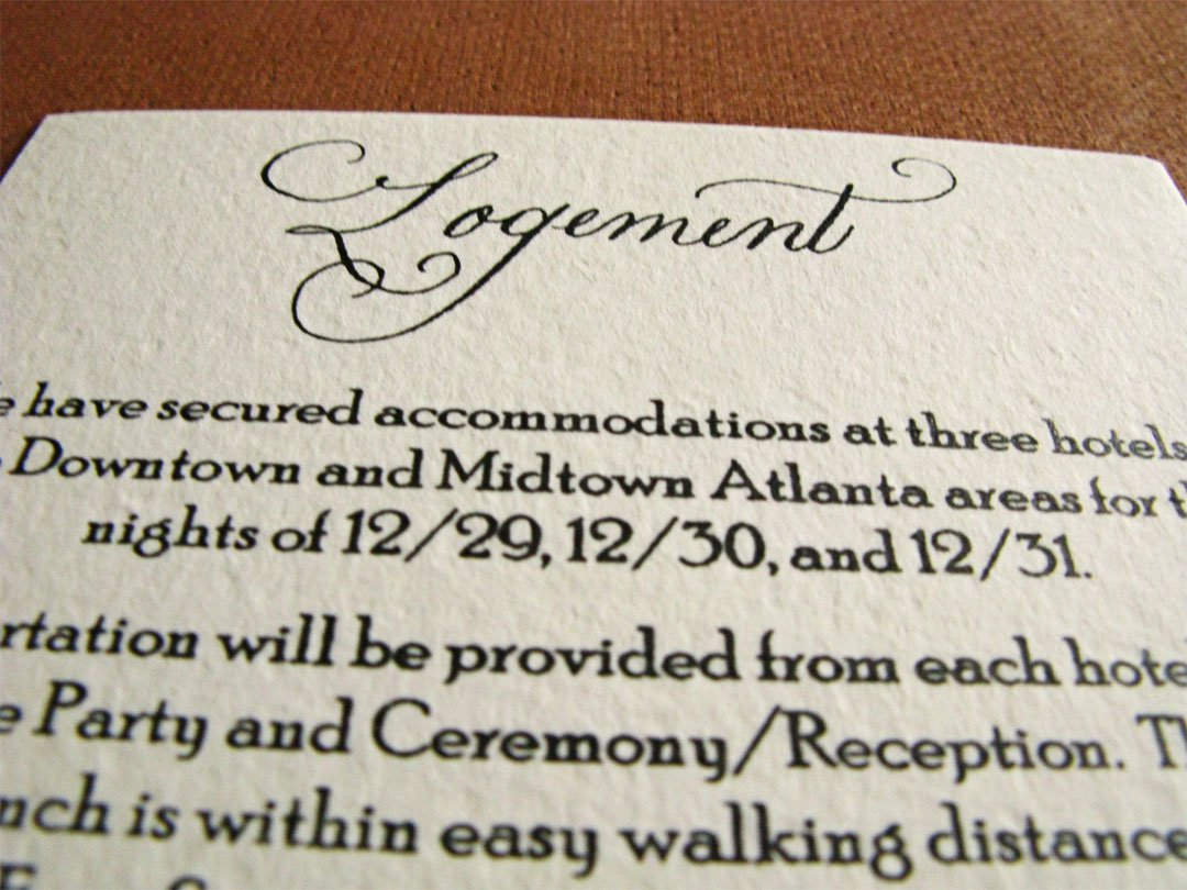 Hotel Information Wedding Invitation Inserts