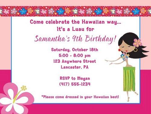 Aloha Party Invitations – Hula Party Invitations