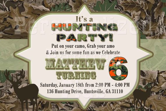Hunting Birthday Invitations Free Printable