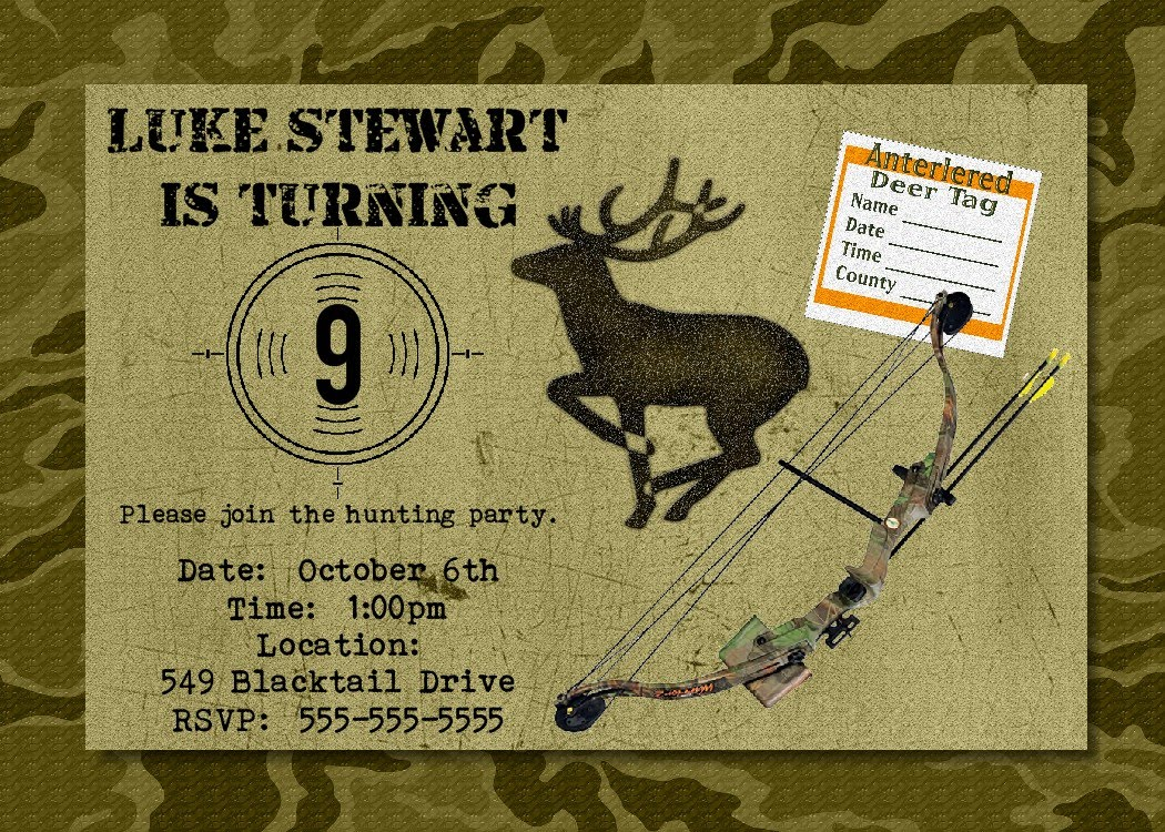 Hunting Birthday Party Invitations Free