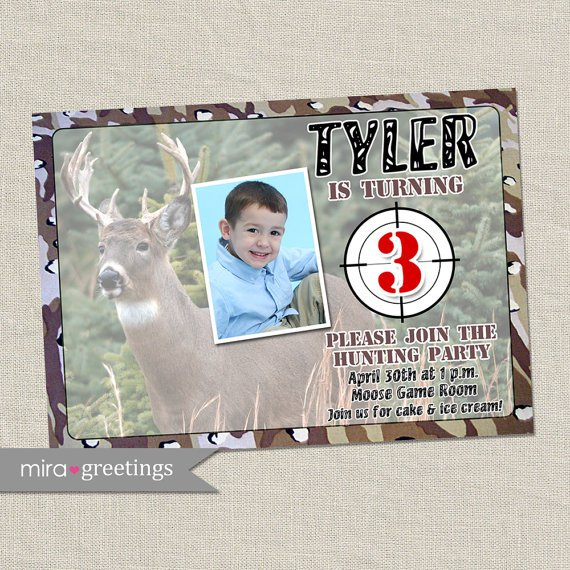Hunting Camo Birthday Invitations
