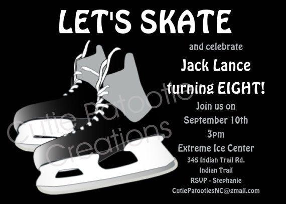 Ice Skating Invitations For Boys