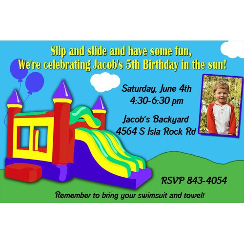 Inflatable Water Slide Birthday Invitations