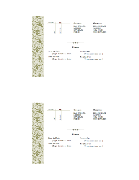 Invitation Directions Insert Template