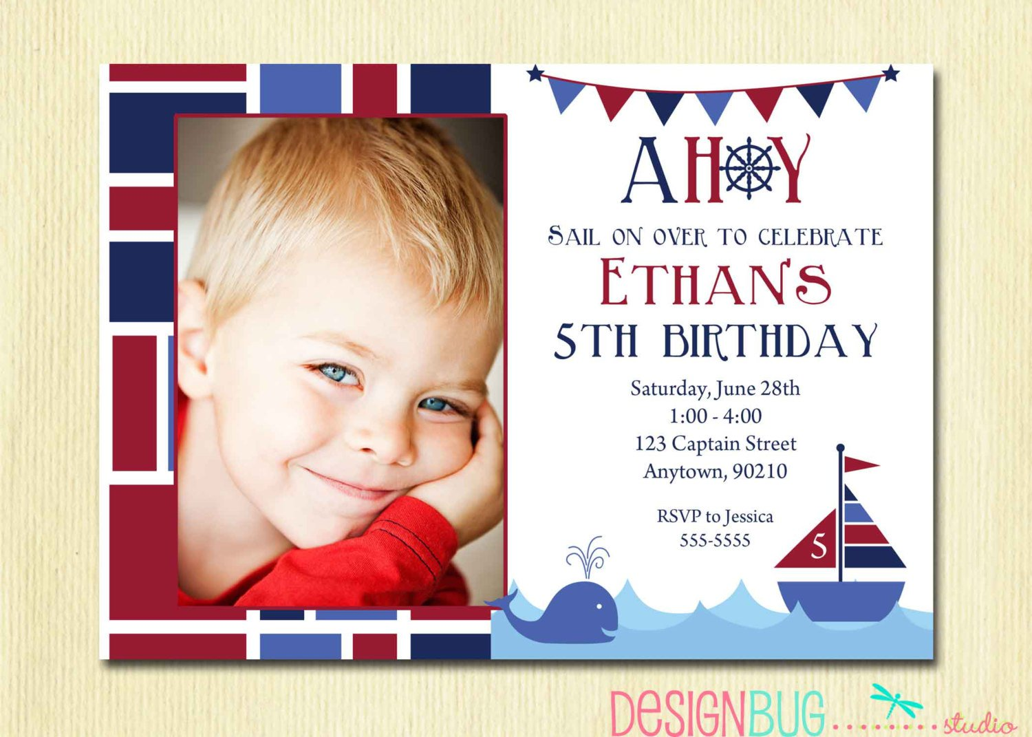 Invitation For 5 Year Old Boy