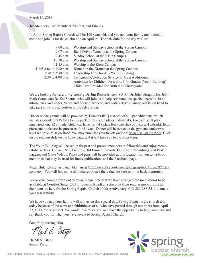 Invitation Letter To Our Church