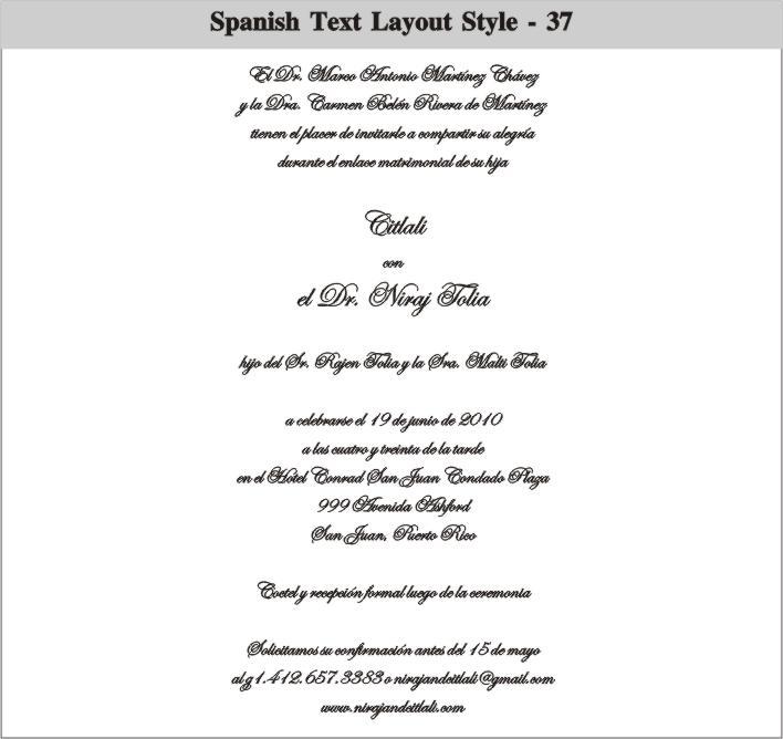 Invitation Wording In Spanish