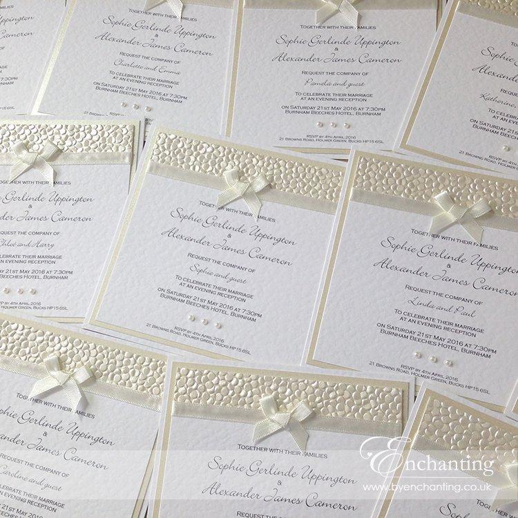 Ivory Pebble Paper Wedding Invitations