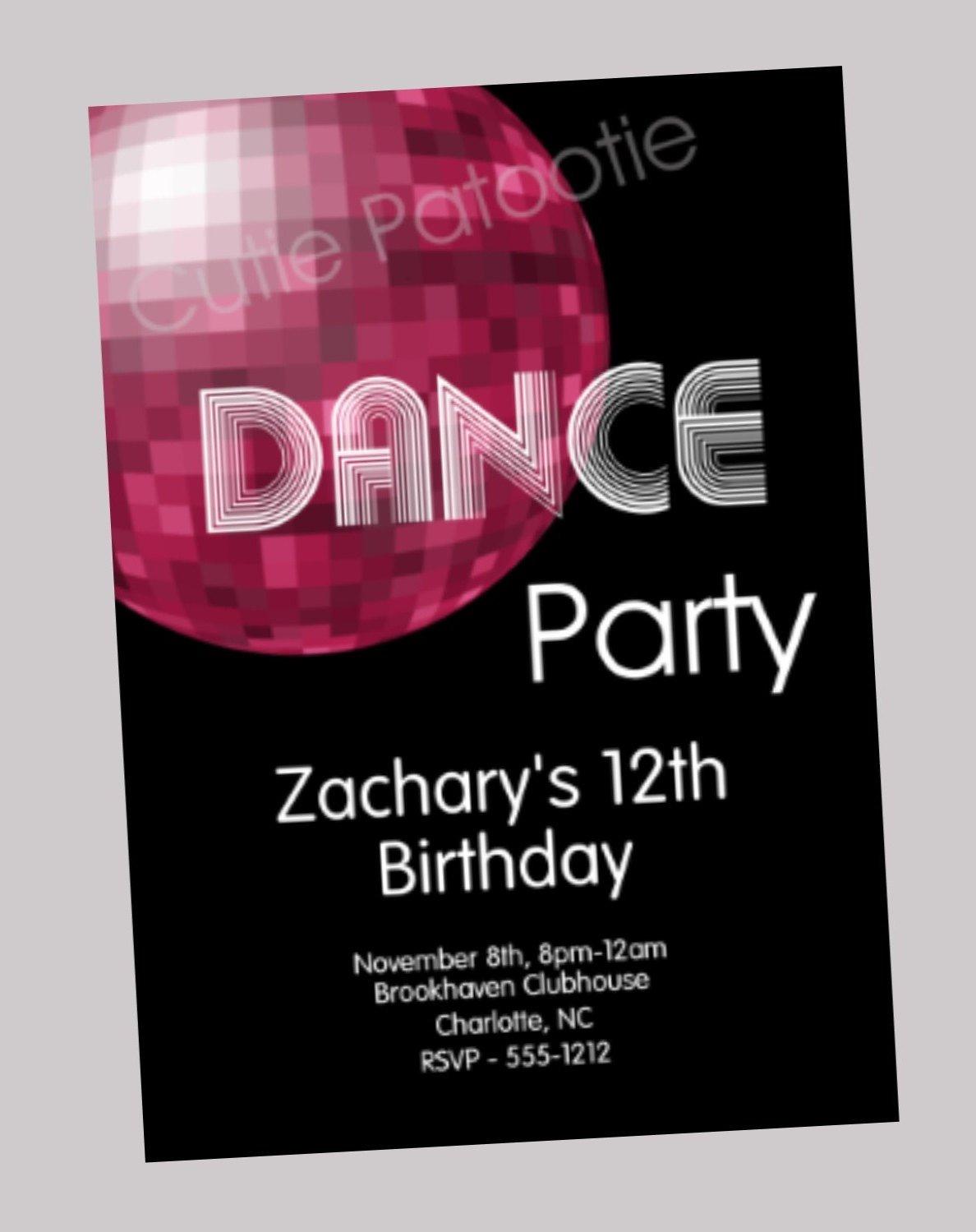 Just Dance Birthday Invitations
