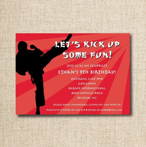 Karate Birthday Invitations Printable