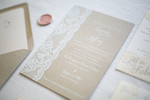 Kraft Paper And Lace Wedding Invitations