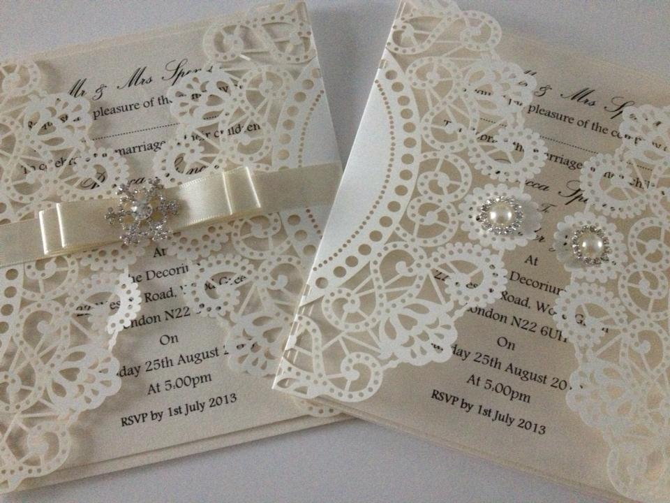 Laser Cut Wedding Invitations Uk - Vintage Lace