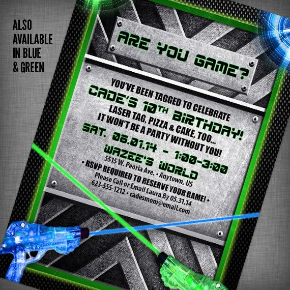 It's just an image of Intrepid Printable Laser Tag Birthday Invitations