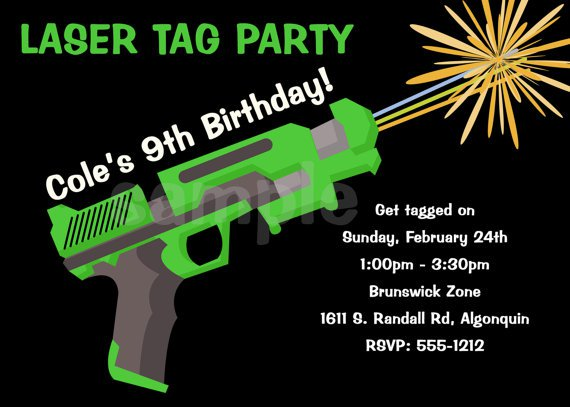 Laser Tag Birthday Party Invitations Printable