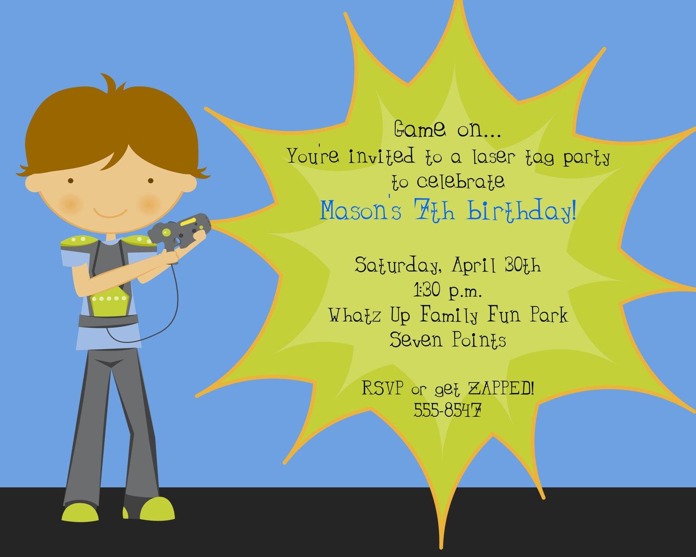 Laser Tag Party Invitation Wording