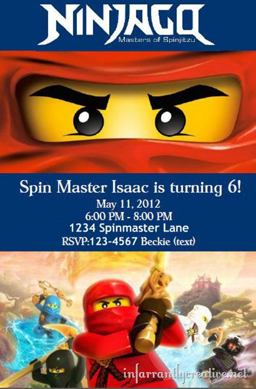 Lego Ninjago Birthday Party Invitations