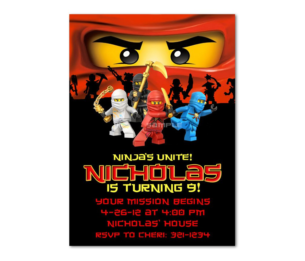 Lego Ninjago Birthday Party Invitations – Ninjago Party Invitations