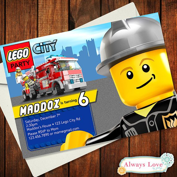 Lego Printable Birthday Cards – Lego City Birthday Invitations