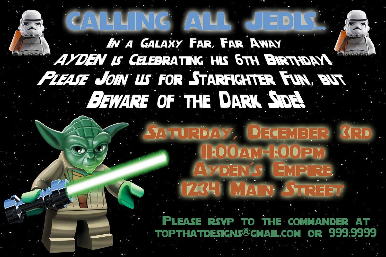 Lego Star Wars Birthday Invitation Wording