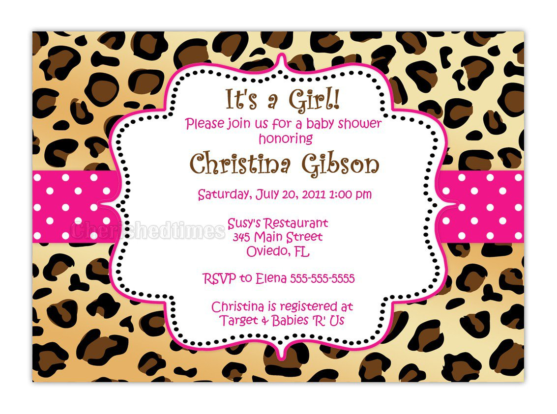 Leopard Print Baby Shower Invitations