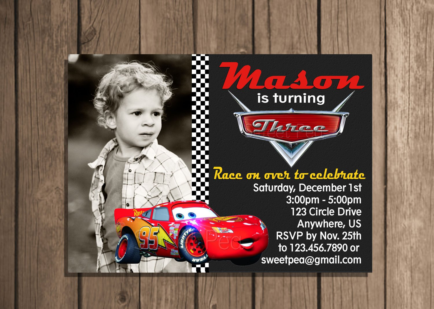 Cars Invitation Card Template Free: Lightning Mcqueen Invitation Card