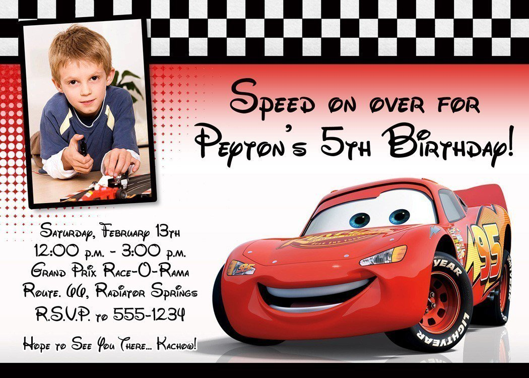 Lightning Mcqueen Birthday Party Invitations Free