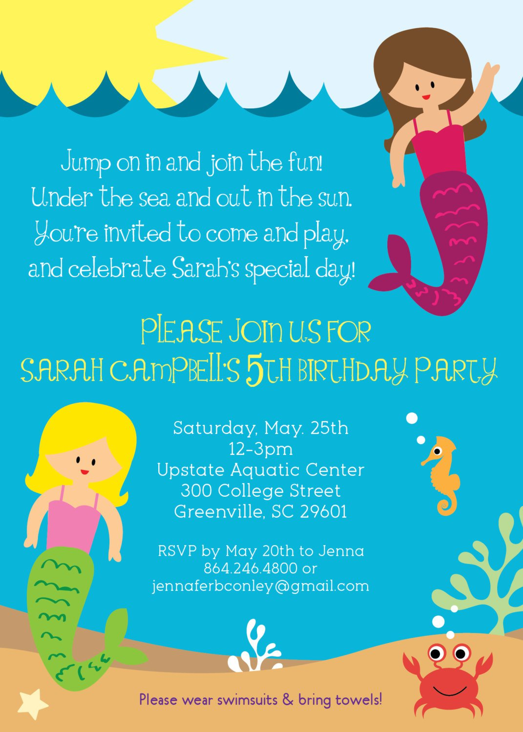 littlemermaid4thbirthdayinvitationwordingjpg