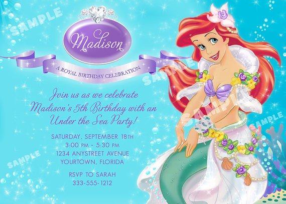 Little Mermaid Birthday Party Invitation Wording