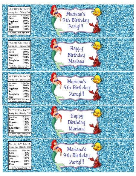 Little Mermaid Free Printable Water Bottle Labels