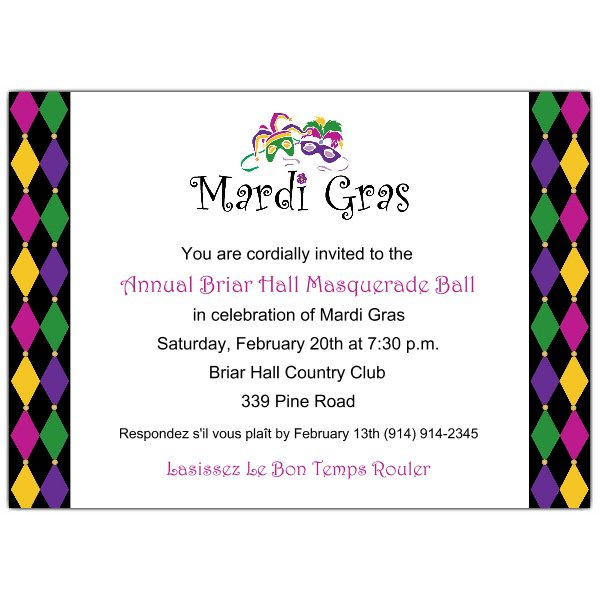 Mardi Gras Birthday Invitations Blank