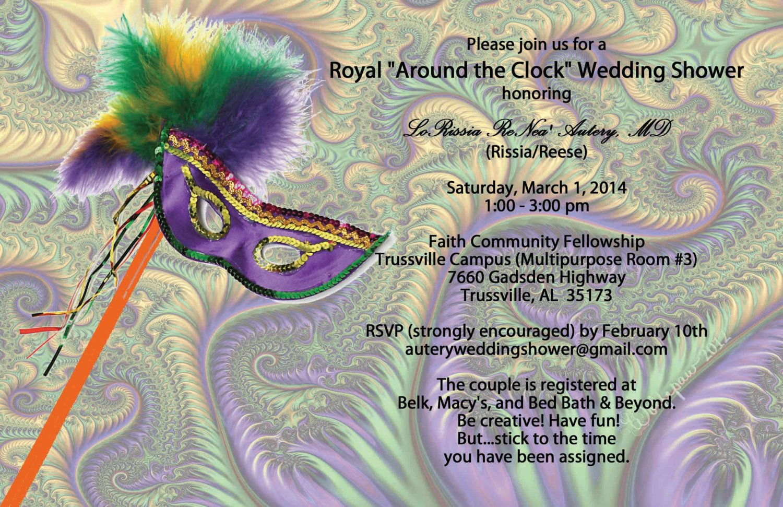Mardi Gras Wedding Shower Invitations