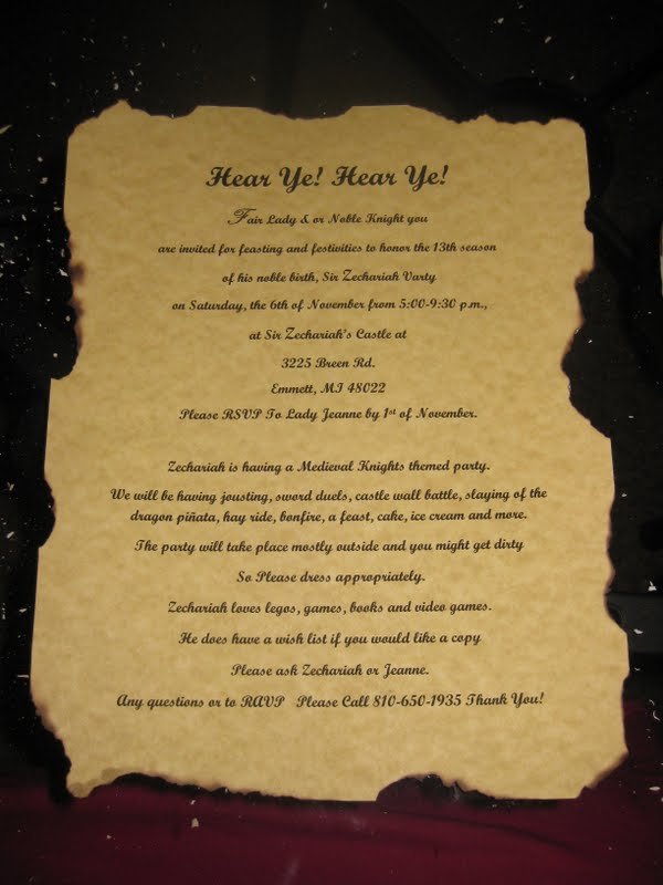 Medieval Party Invitation Templates