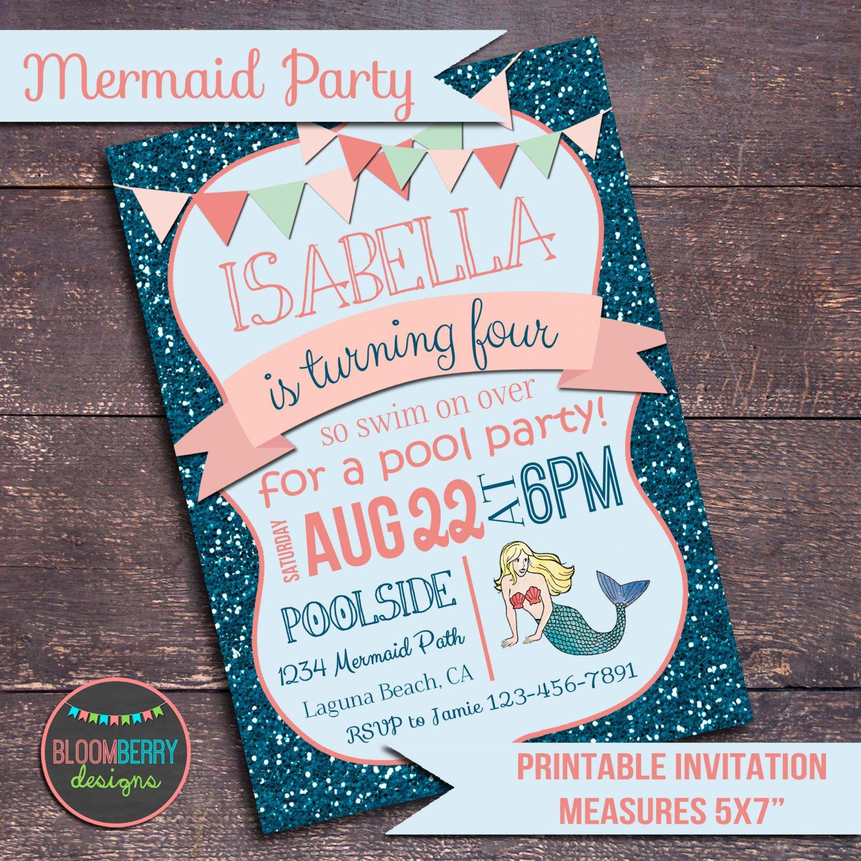 Mermaid Pool Party Invitation Wording
