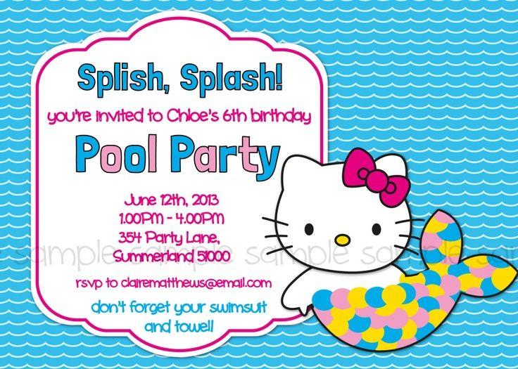 Mermaid Pool Party Invitations