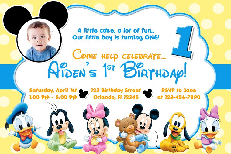 Mickey Mouse 1st Birthday Invitations Template Free