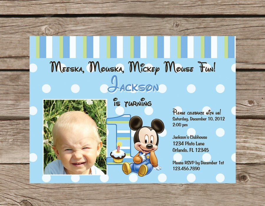 Mickey Mouse 1st Birthday Printable Invitations