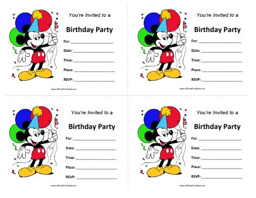Mickey Mouse Birthday Invitations Printable
