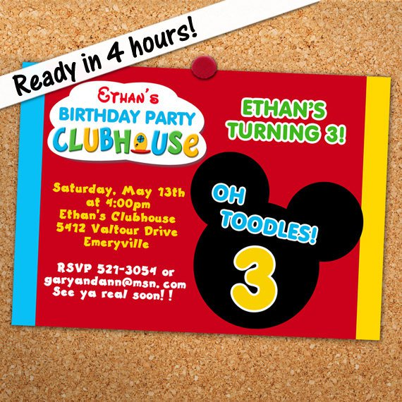 Mickey Mouse Birthday Personalized Invitations