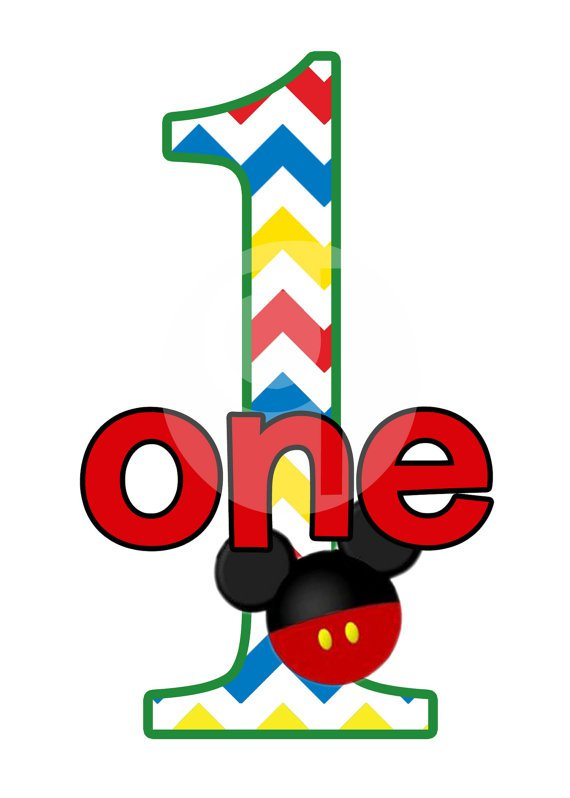 Mickey Mouse First Birthday Clipart