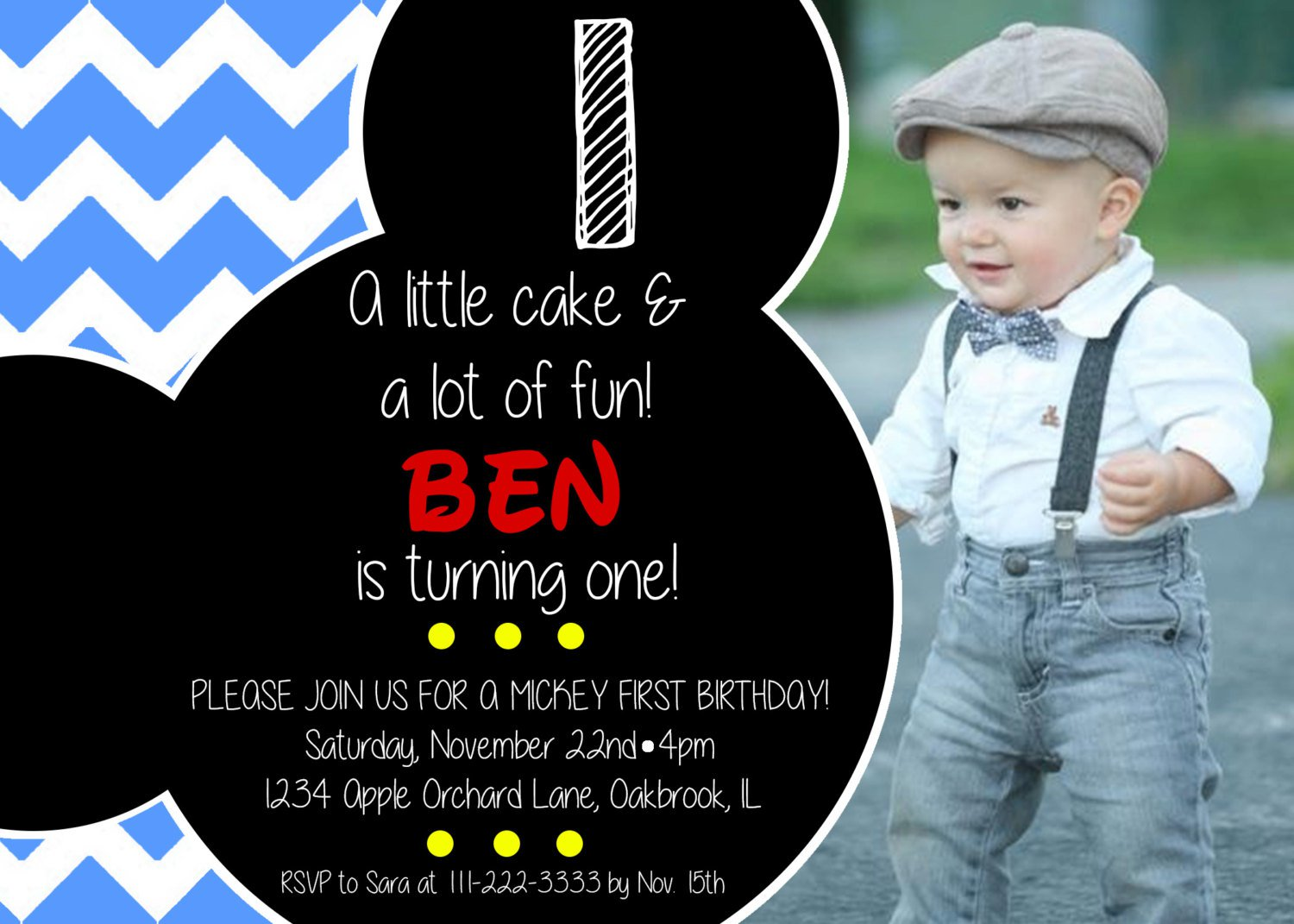 Mickey Mouse First Birthday Invitations Etsy